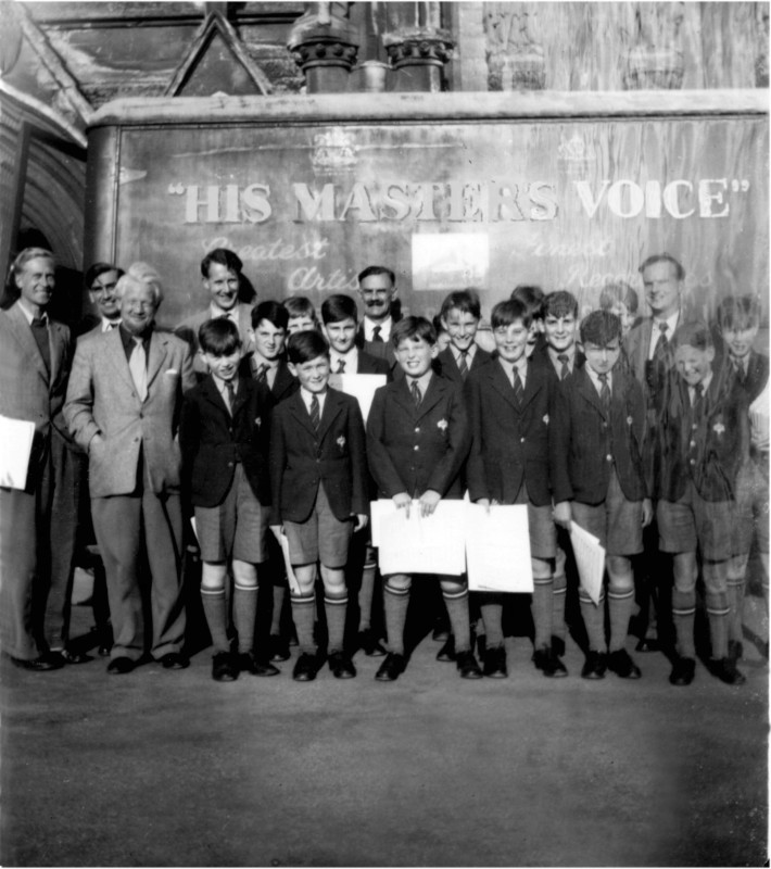 Edmund Rubbra with the choristers on the day of the recording