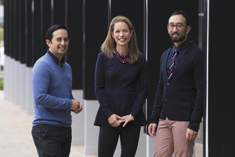 Spark Co-Lab directors Adam Santa Maria (left) and Kath Giles with Peter Santa.Photo: Attila Csaszar