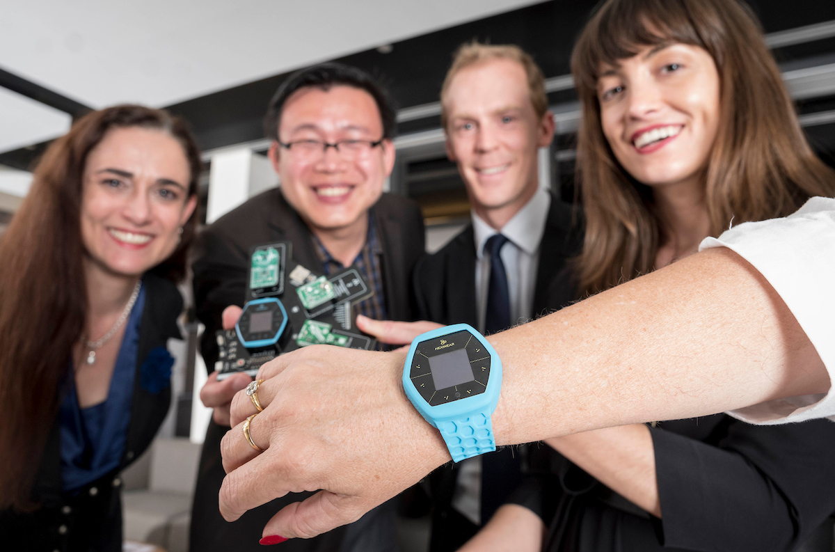 NIMo founders Marthe Smith, Alex Wu, Robert Pass and Amy Finlay-Jones show off their winning concept
