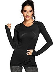 Women's Active Long Sleeve Sports Running Tee Top Seamless Leisure T-Shirt