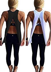 Women's Open Back Yoga Tank Sleeveless Off Shoulder Workout T Shirt Backless Crop Tops Workout Clothes Size XS-XXL