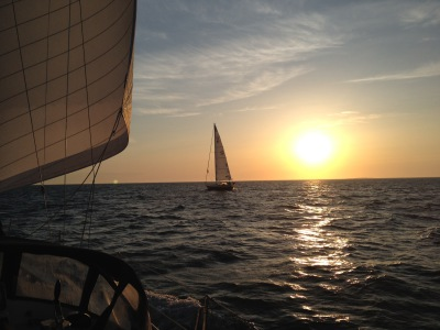 Sunset sailboat charter Marblehead