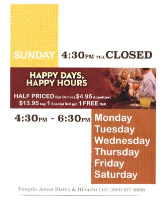Everyday Happy Hours!