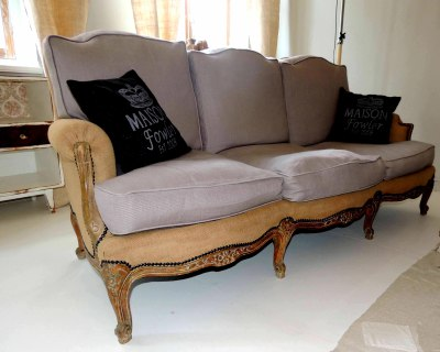 1850s French Louis XV style sofa re-upholstered in natural burlap and dove grey linen