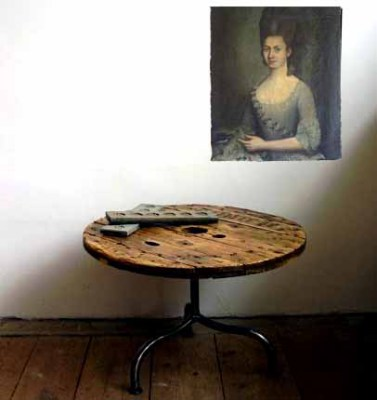 Reclaimed wood cable spool table