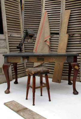 Reclaimed wood writing desk, stool and industrial style lamp
