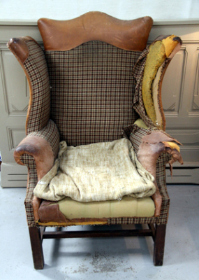 Decadent patchwork armchair left as found