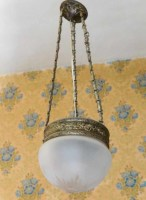 French opaline hanging lamp