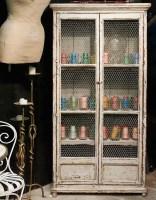 Distressed bookcase mesh doors