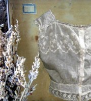 1900s embroidered muslin corset cover