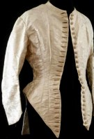 1880s Ivory silk damask bodice labelled
