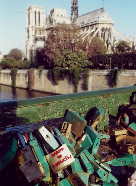 Pont de l'Archeveche, Paris - love lock symbolizing the interaction of DARPP-32 & adducin (Photo OE)