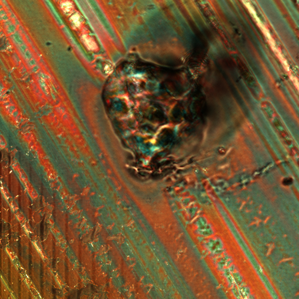 Aluminium foil under a confocal Leica SP5 microscope (photo by O.E.)