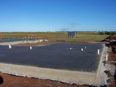 Concrete slab is ready for house framework to be erected