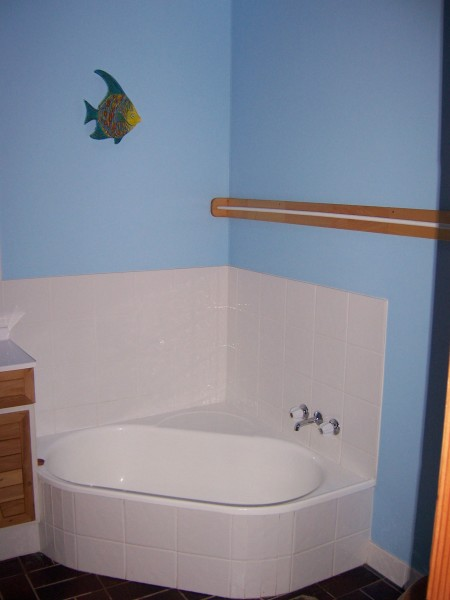 New bathroom completed with tiles, paint, basin and toilet