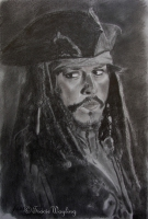Portrait example, graphite pastel drawing of Johnny Depp by London artist, Tracie Wayling