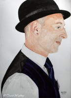 Portrait example, watercolour/gouache painting of medium Colin Fry by London artist, Tracie Wayling