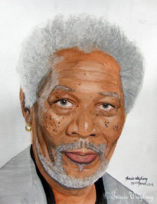 Morgan Freeman portrait example, watercolour, gouache  and a little pastel to highlight, add texture
