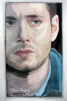 Portrait example, watercolour/gouache painting of Jensen Ackles/Dean Winchester by London artist, Tracie Wayling