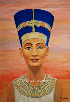 Queen Nefertiti, watercolour/gouache painting by London Artist, Tracie Wayling.