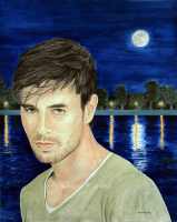 Portrait example, watercolour/gouache painting of Enrique Iglesias by London artist, Tracie Wayling, to inspire ideas for your own commissioned artworks