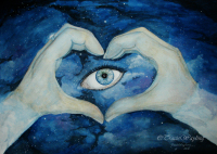 Eye in the Sky, watercolour, gouache, painting, night sky, hands in heart shape, stars, blue, purple, close up eye,