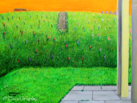 Orange sky, grass hill, magical, sparkly flowers, acrylic painting, pathway, dream journal, sleep drawing, canvas, bringing a dream to life, metallic acrylics, spiritual, another world, Hill dream, out of body, astral travel