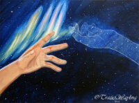 Acrylic painting depicting time and space having no barrier when it comes to connecting with each other.  A beautiful Aurora shines lights of colour, a focal point for all to see among the star filled night sky.