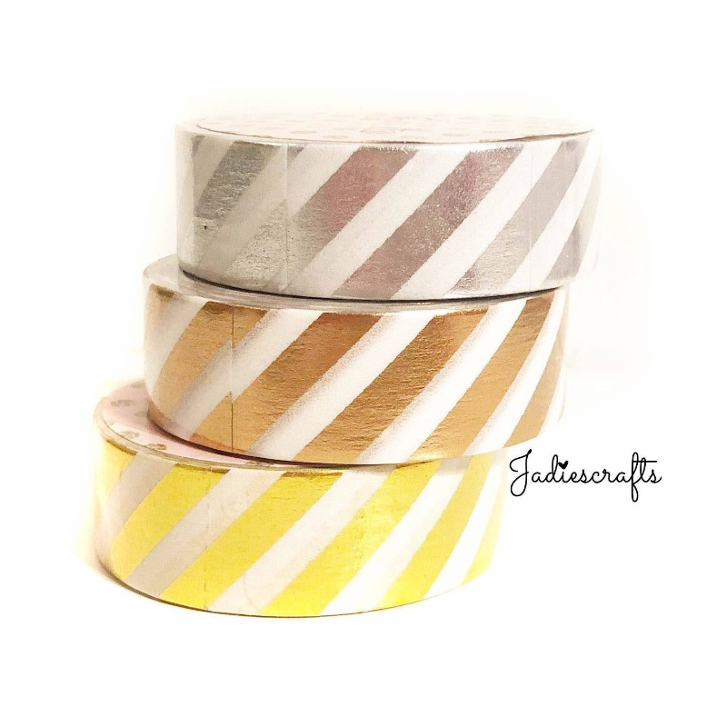 Silver, Rose Gold & Gold Foil Stripe Washi Tape