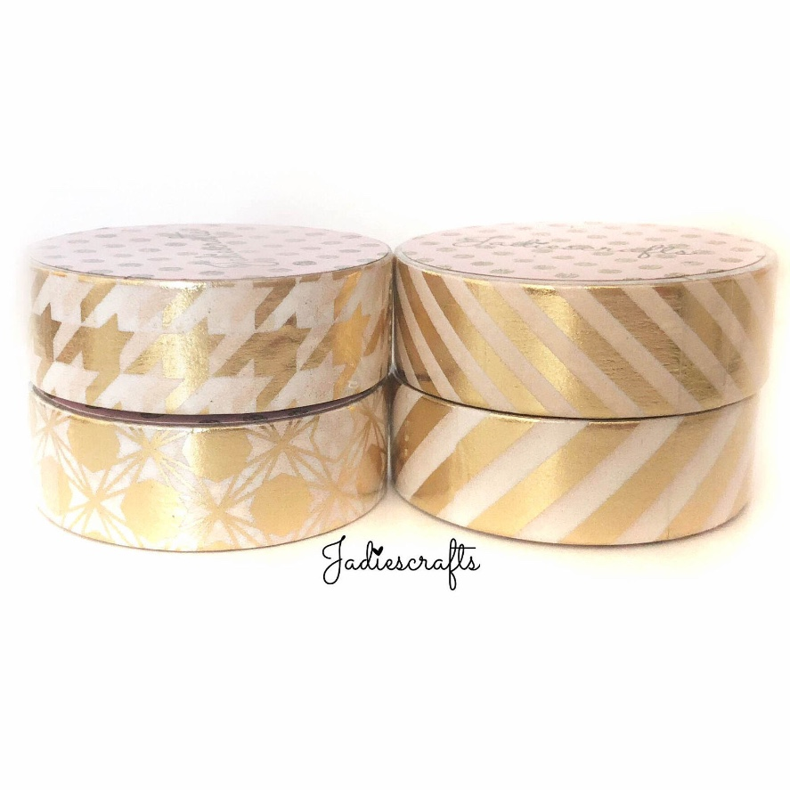 Light Gold Foil Washi Tape | Stripes, Geometric & Houndstooth