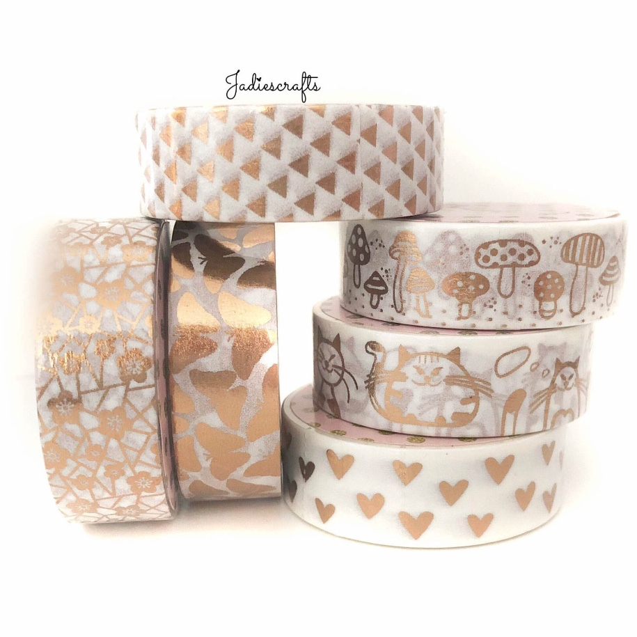 Rose Gold Washi Tapes | Butterflies, Flowers, Triangles, Toadstool, Cats & Hearts