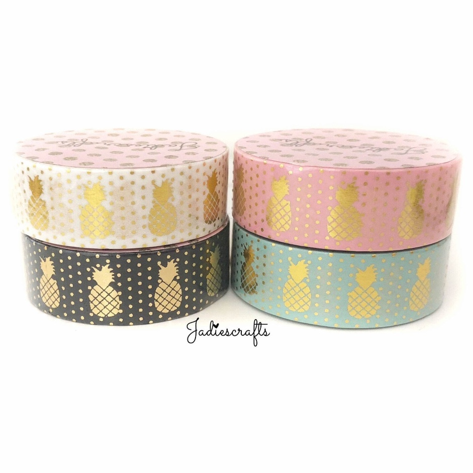 Gold Foil Pineapple Washi Tape | Pink, Mint, White & Black