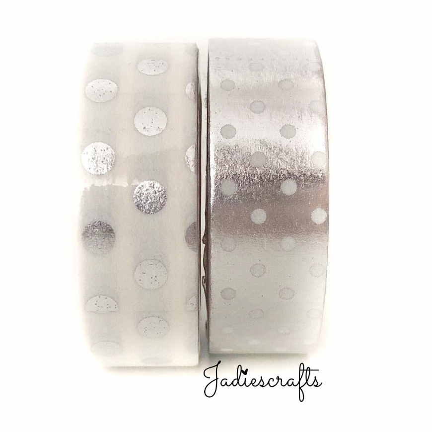 Silver Polka Dot Washi Tape | Large & Small