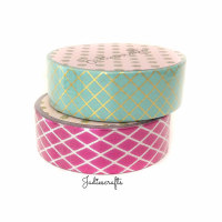 Mint & Pink Gold Foil Harlequin Washi Tape