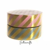 Pink & Mint Striped Washi Tape