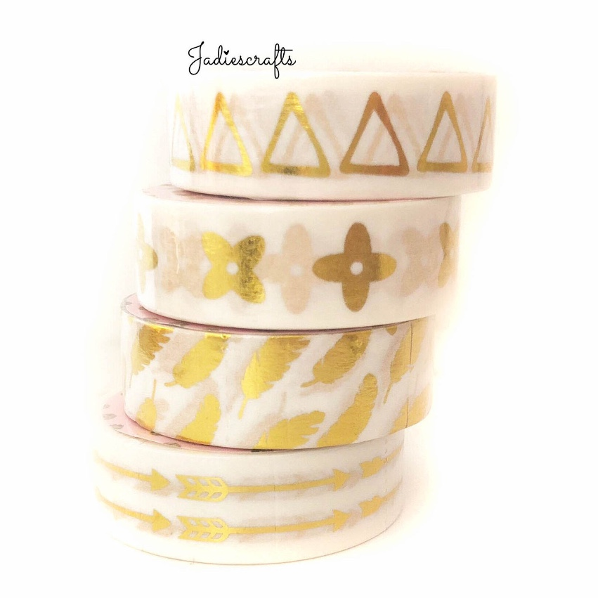 Gold Foil Washi Tape | Triangles, Flowers, Feathers & Arrows