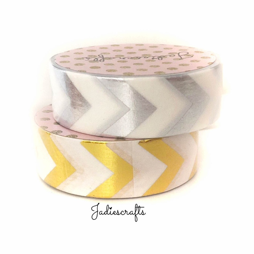 Gold & Silver Foil Large Chevron Washi Tape