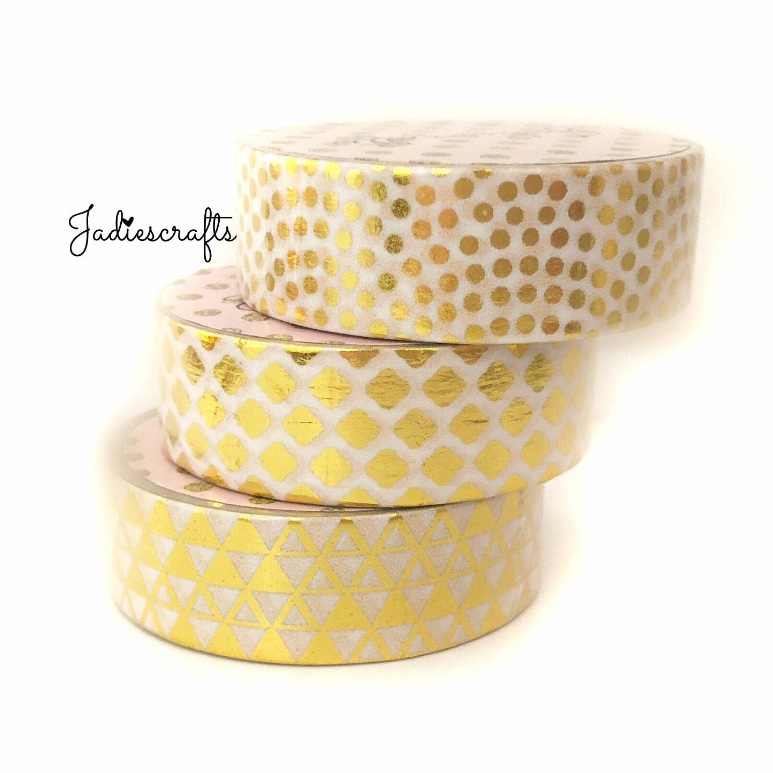 Gold Foil Patterned Washi Tape | Dots, Quatrefoil & Triangles