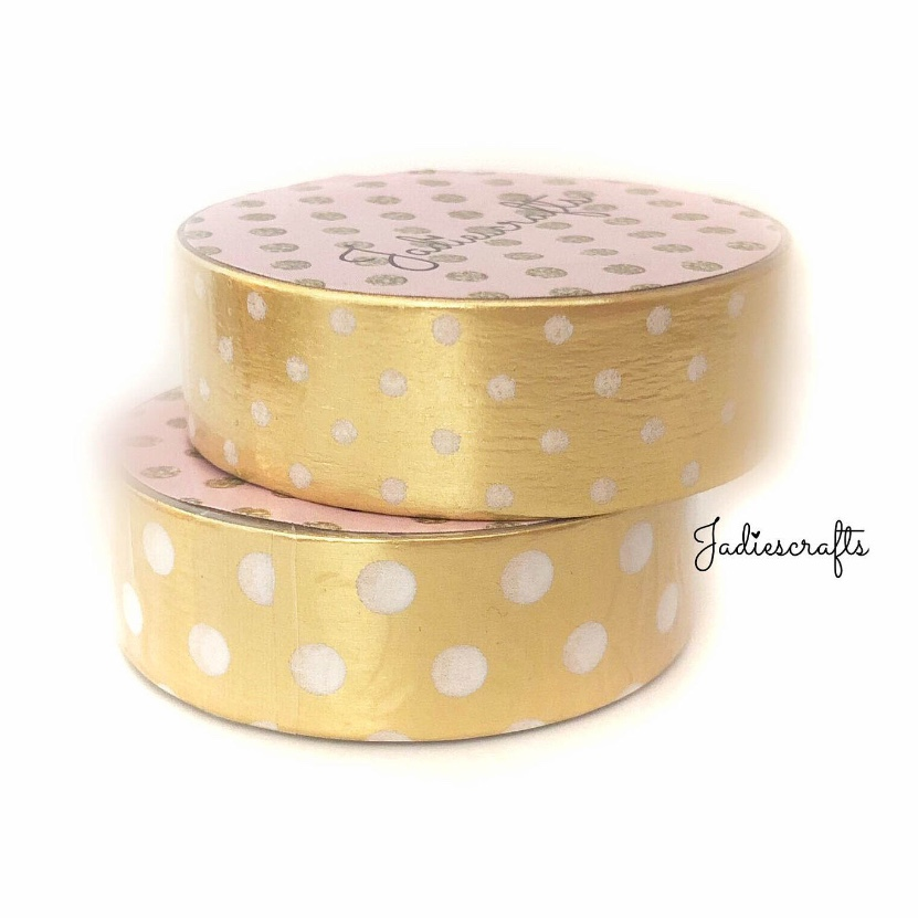 Light Gold White Large & Small Polka Dot Washi Tape