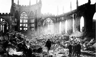November 16, 1940 Coventry Cathedral ruins after Nazi bombing