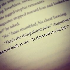 pain demands to be felt the fault in our stars