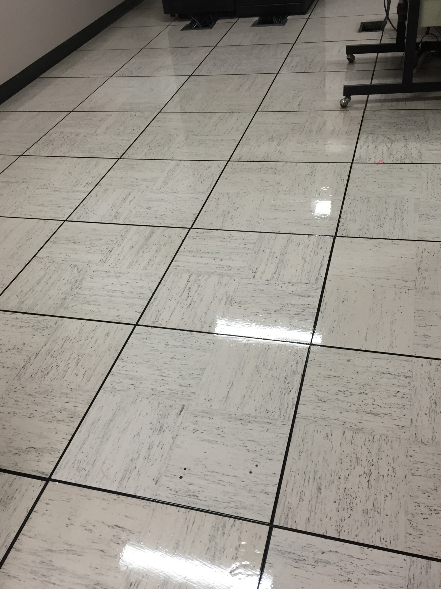 After we stripped and waxed floor.