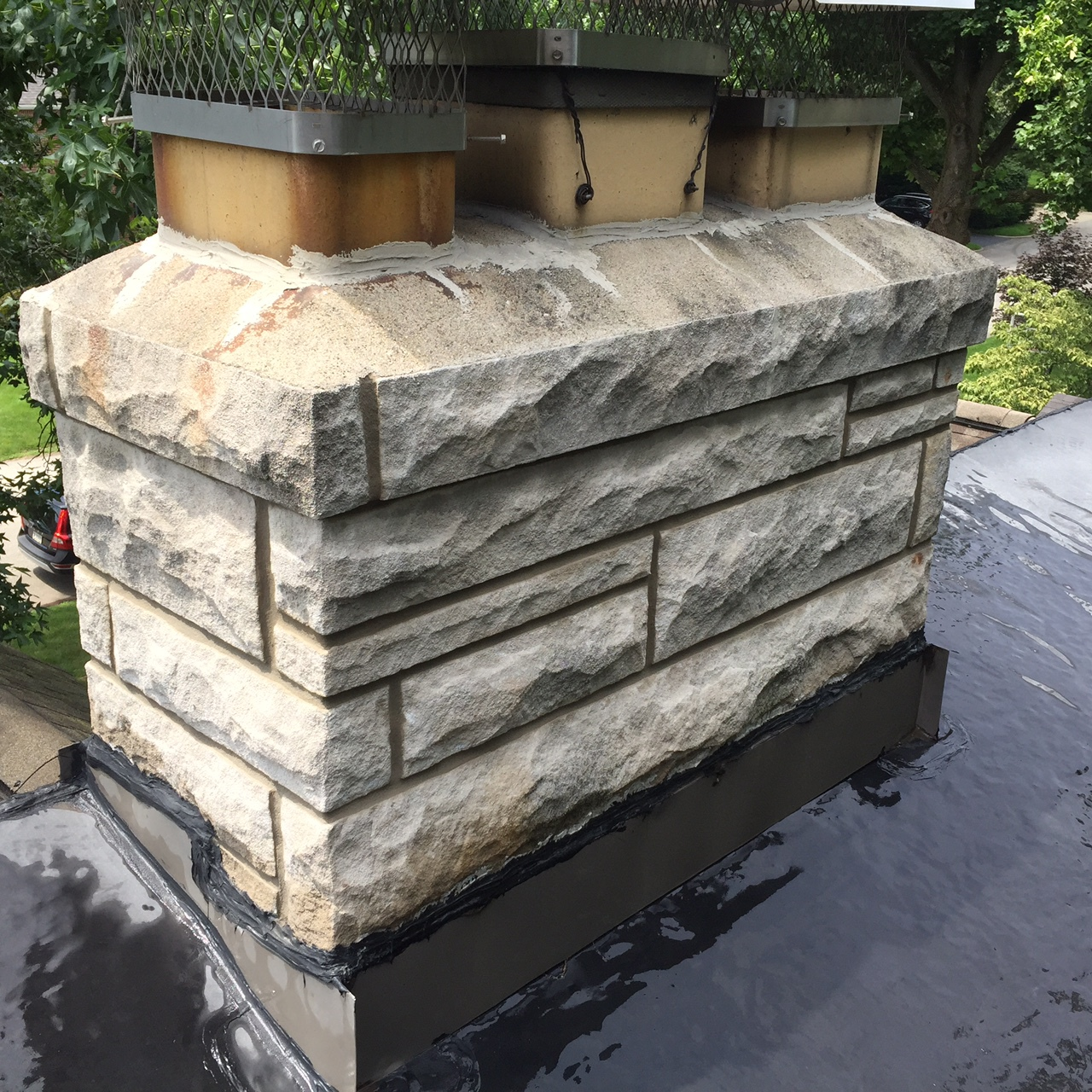 stone chimney rebuild and repair