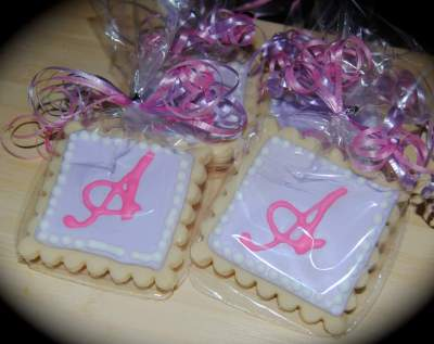 "Custom Monogram ""A"" Cookie Favors"