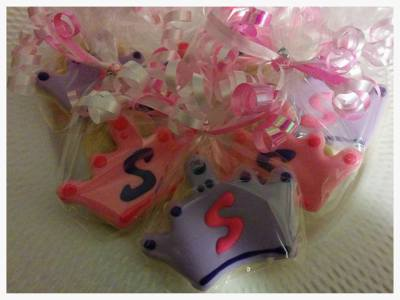 "Monogram ""S"" Princess Crown Cookie Favors"