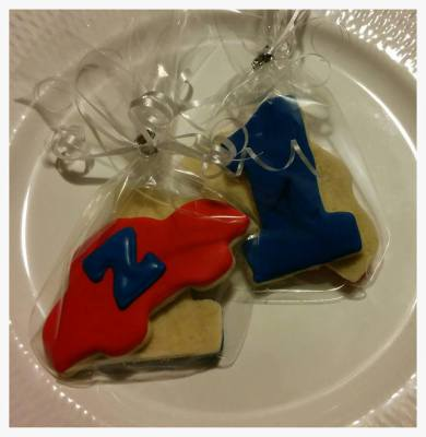 "Cars 1st Birthday Party with Monogram ""Z"" Cookie Favors"