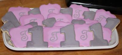 "Monogram ""T"" with #1 grey and pink Platter Style cookies"