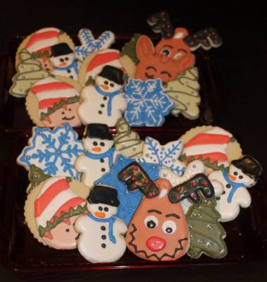 Elf, Snowman, Christmas Tree, Snowflake & Rudolf Custom Cookie Platters