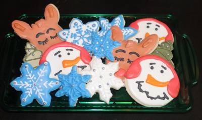 Snowman, Xmas Tree, Snowflake & Rudolf Custom Cookie Platter