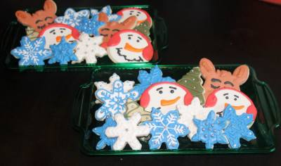 Holiday Cookie Platters * Snowman Snowflake Rudolph Xmas Trees